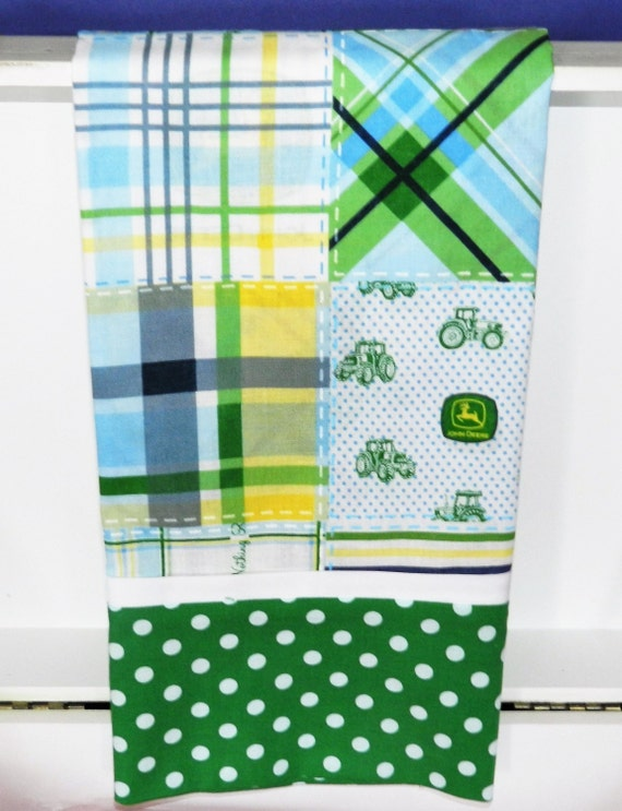 Pillowcase, Kid's Pillowcase, Standard Size, Blue/Green Plaid John Deere Fabric