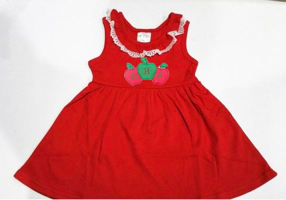 Monogrammed Navy Dress with Lace Trimmed Collar, Cotton Knit, Babies, Toddlers, Girls, Red, Navy, CLEARANCE