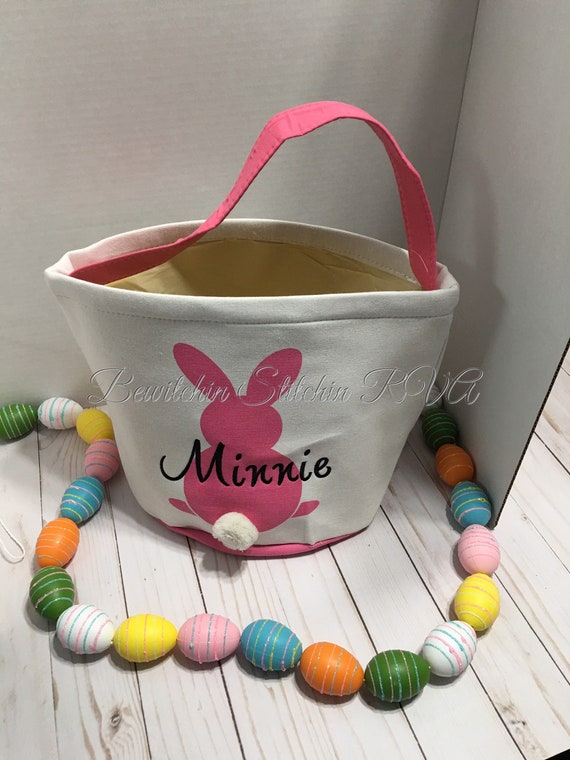 Easter Basket, Canvas Bunny Tail Easter Basket, Personalized Easter Basket, Easter Tote, Purple, Pink, Green, Blue, EMBROIDERED, NOT VINYL