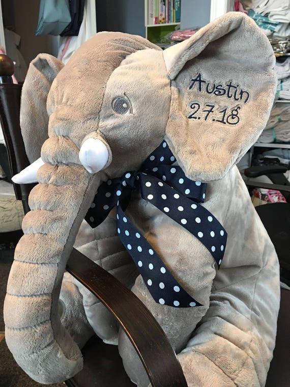 "Personalized Plush Elephant, Bolster Pillow, Stuffed Elephant, 24"", Embroidered, Pink, Blue, Gray, Grey, Yellow, Purple"