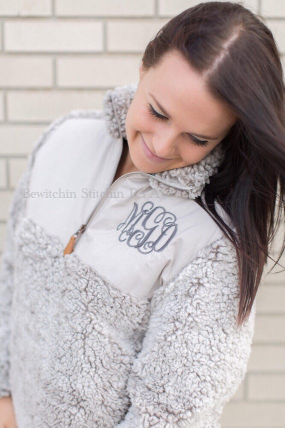 Personalized Ladies Wine Quilted Sherpa Pullover, Frosted Sherpa Pullover, Monogrammed Pullover, Gray, Black, Ivory, Brown, Wine