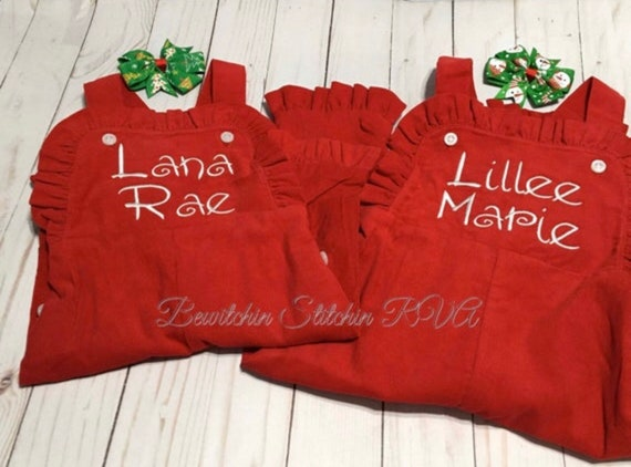 Personalized Girls Ruffled Red Corduroy Longall, Girls Corduroy Longall, Girls Gingham Bib Overalls, Monogrammed Corduroy Bib Romper