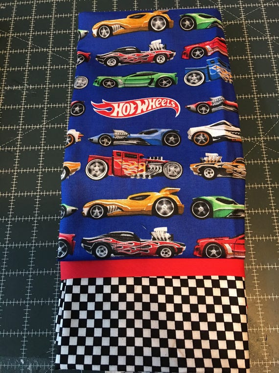 Pillowcase, Kid's Pillowcase, Standard Size,  Made From OOP Hot Wheels Fabric