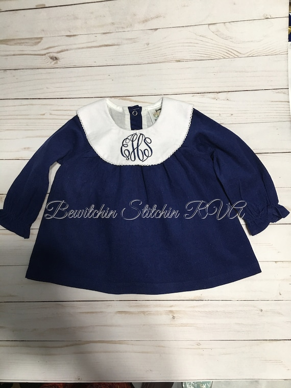 Monogrammed Corduroy Bishop Dress, Knee Length Dress, Girls Navy Christmas Dress, Toddler Bishop Dress, Baby Christmas Dress, Ships Fr