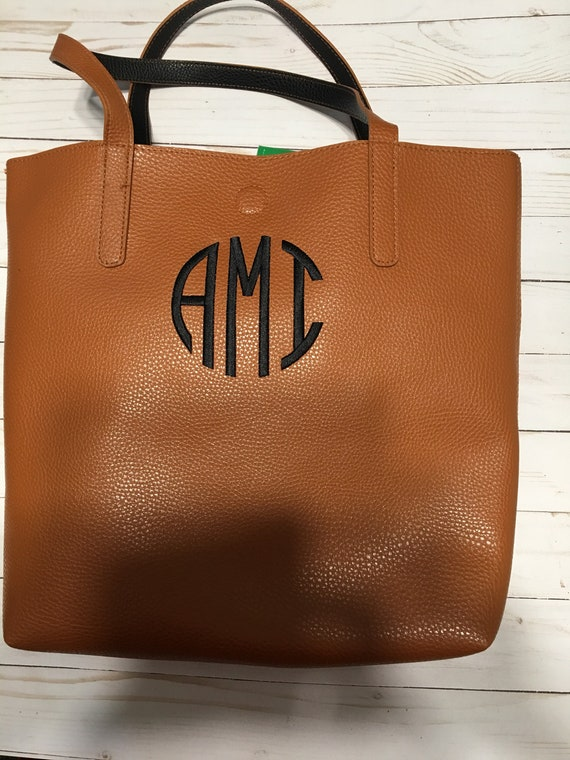 Monogrammed Faux Leather Tote Bag, Purse, Coordinating Color Interior, Embroidered, Monogrammed, Pebble Grained Tote