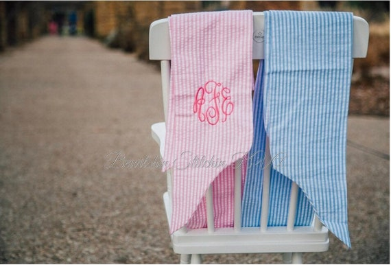 Personalized Newborn Swaddle Bow, Maternity Sash, Seersucker, Pink, Blue, Gray Ready to Ship