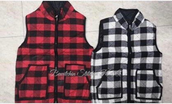 Personalized Child Buffalo Plaid Vest, Red Buffalo Plaid Vest, Black and White Buffalo Plaid Vest, Toddler Buffalo Plaid Vest, Kids Vest