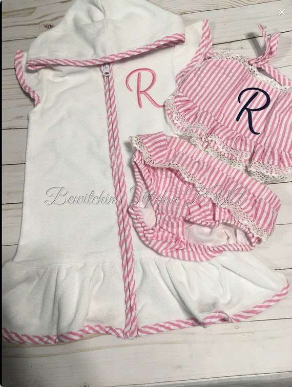 Personalized Girls Swimsuit Cover-Up, Cotton Terry Cloth,White, Pink Trim, Green Trim, Baby, Toddler, Girls