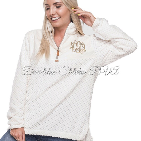 Monogrammed Ladies Ivory Sherpa Quarter Zip Pullover, Ladies Fleece Quilted Pullover, Pink Quarter Zip Pullover, Personalized Pullover