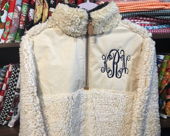 Personalized Ladies Ivory Quilted Sherpa Pullover, Frosted Sherpa Pullover, Monogrammed Pullover, Gray, Black, Ivory, Brown, Wine