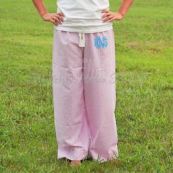 Personalized  Ladies Pink Lounge Pants, Seersucker Lounge Pants, Seersucker Pajama Pants, Pink Pants, Blue Pants, Green Pants