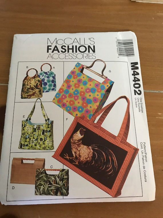 Handbags and Totes Sewing  Pattern, McCalls M4402, Fashion Accessories   FF, Uncut, SHIPS Free