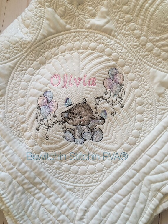 Personalized Baby Quilt, White Heirloom Quilt, Monogrammed Quilt, White Blanket, Pink, Blue, Light Purple, Mint, Light Gray
