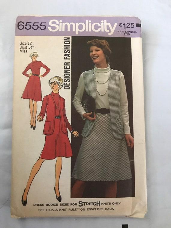 """Simplicity 6555, Vintage Misses Dress and Vest Sewing Pattern, 1970's Dress Pattern, Seventies Dress Pattern, Size 12, Bust 34"""", Uncut"""