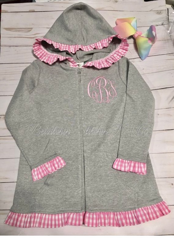 Personalized Baby Zip Front Hooded Jacket, Cotton Knit Ruffled Hooded Jacket,  Hooded Jacket with Ruffled Gingham Trim