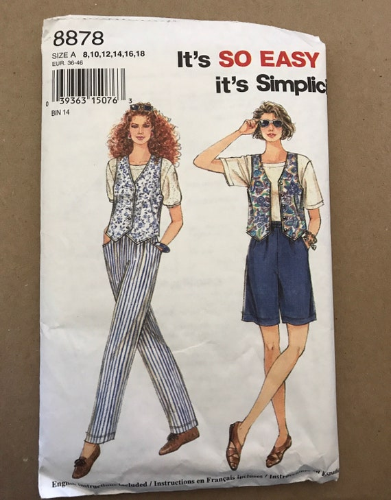 Simplicity It's So Easy 8878 Misses Pants, Vest, and Shorts Sewing Pattern, Sizes 8,10,12,14,16,18, New, Uncut, FF