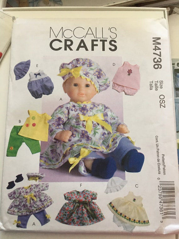 "McCalls M4736 Doll Clothes Wardrobe Sewing Pattern, Fits 11-13"" and 14-16"" Dolls, New, Uncut, FF"