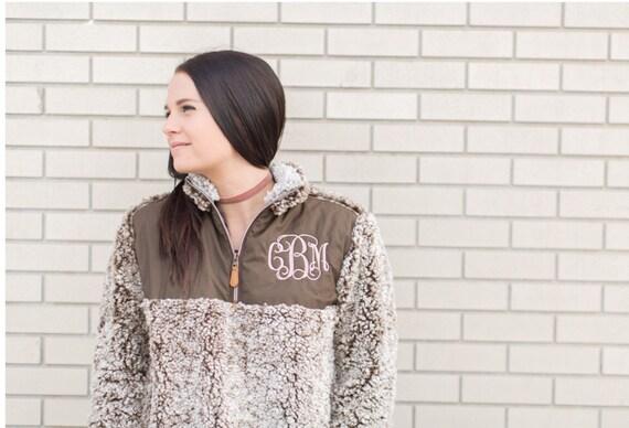 Personalized Ladies Brown Quilted Sherpa Pullover, Frosted Sherpa Pullover, Monogrammed Pullover, Gray, Black, Ivory, Brown, Wine