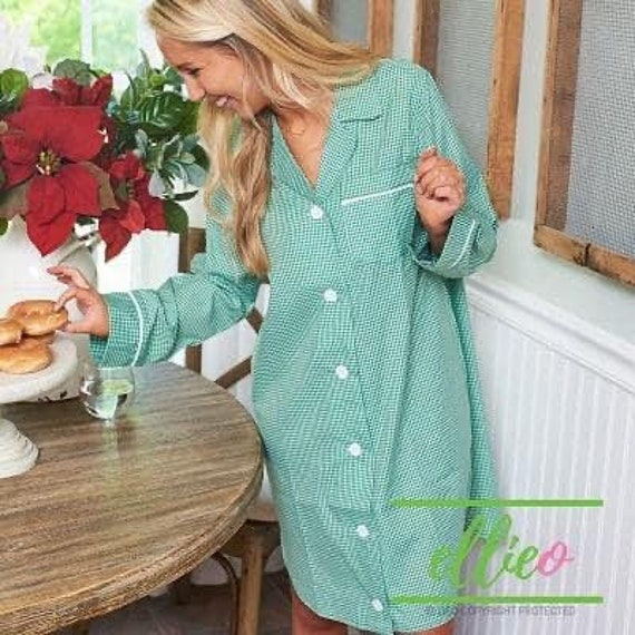Personalized Ladies Green Gingham Night Shirt, CHRISTMAS  Night Shirt, Gingham Loungewear, Ladies Night Shirt, EllieO Brand, CLEARANCE