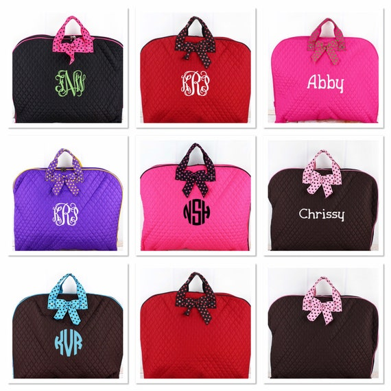 Monogrammed Quilted Garment Bag, Bridesmaid Weekend Garment Bag, Dance Recital Costume Bag, Travel Garment Bag
