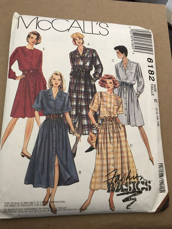 McCalls 6182 Misses Shirt Dress Sewing Pattern, Sizes 14, 16, 18, Ladies Shirt Dress Pattern, New, Uncut, Factory Folded