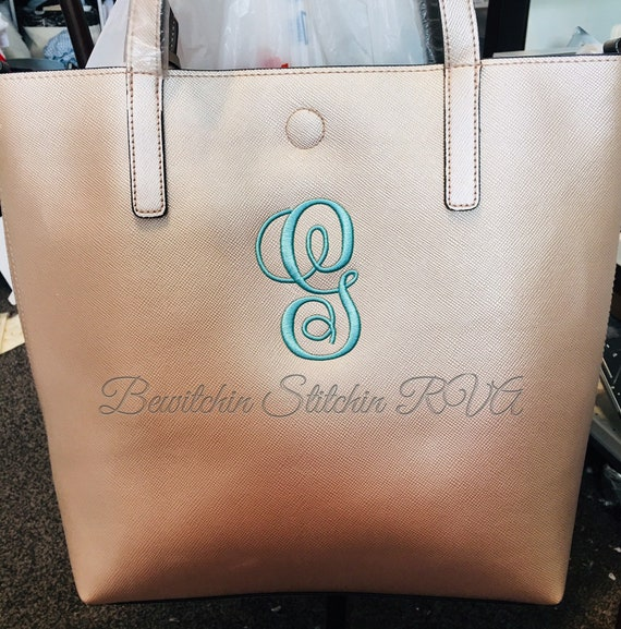 Personalized Vegan Leather Tote Bag, Purse, Coordinating Color Interior, Embroidered, Monogrammed, Pebble Grain