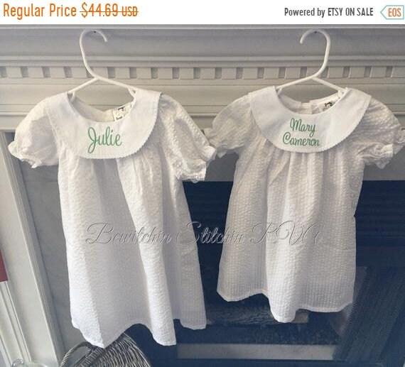 Personalized Girls White Seersucker Bishop Dress, White Flower Girl Dress, Baby Christening Dress, Toddler Bishop Dress, Monogrammed Dress