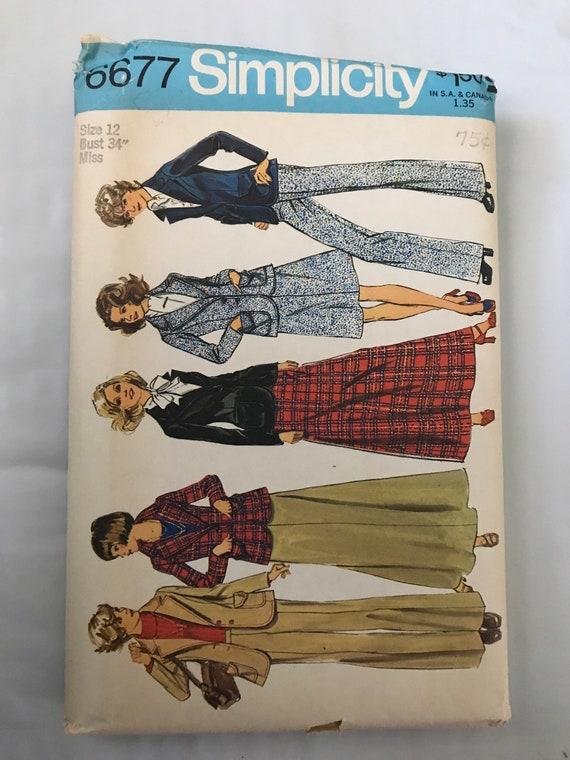 """Simplicity 6677, 1970's  Misses Long Skirt, Pants, Jacket Pattern, 1970's Suit Pattern, Size 12, Bust 34"""", Uncut"""