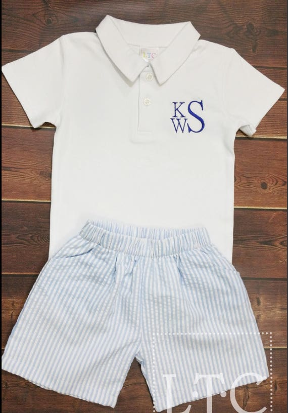Personalized Shorts, Boys Easter Shorts, Seersucker,  Baby, Toddler, Boys, Navy, Khaki, Blue