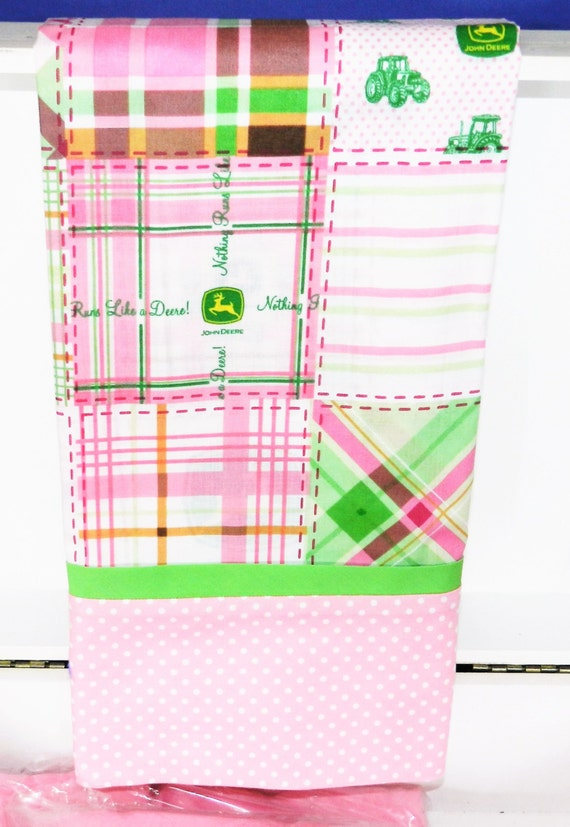 Pillowcase, Kid's Pillowcase, Standard Size, Made From Pink Plaid John Deere Fabric