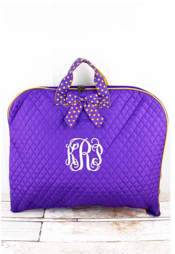 Personalized Purple Quilted Garment Bag, Cheer Leader Garment Bag, Dance Recital Costume Bag, Travel Garment Bag
