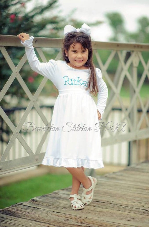 Personalized Girls White Dress, Toddler White Dress, Knit White Dress, Long Sleeve White Dress, Monogrammed White Dress