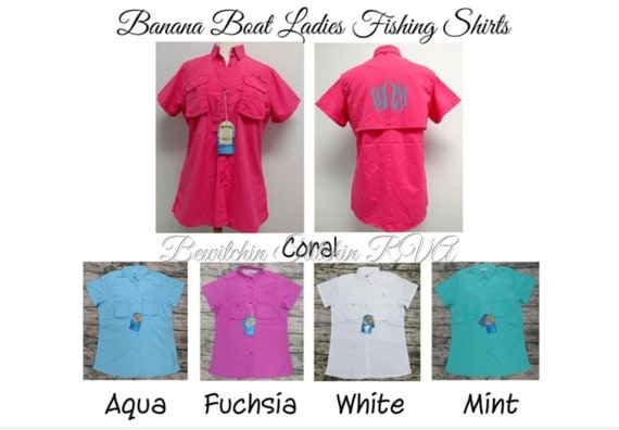 Monogrammed Ladies Fishing Shirt, Personalized Fishing Shirt, Banana Boat Ladies Fishing Shirt, Bridesmaid Shirt, CLEARANCE, RUNS SMALL