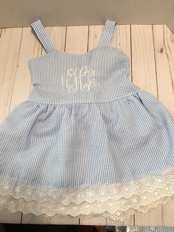 Personalized Seersucker Sundress, Dress, Eyelet Trim, Toddler, Girls, Blue Seersucker