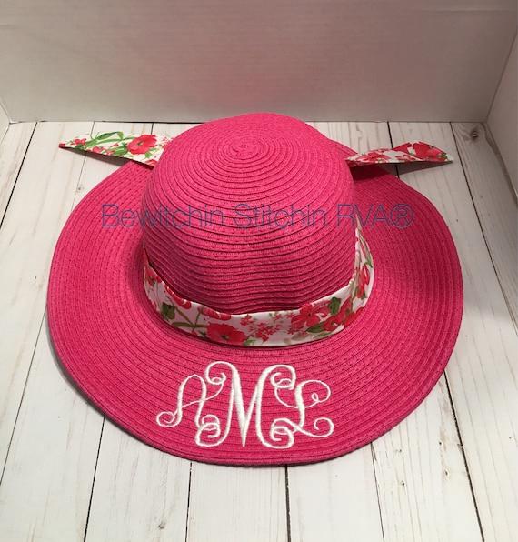 Monogrammed Kids Hit Pink Floppy Hat, Straw Hat, Beach Hat, Ivory, Pink, Hot Pink, Lavender, Aqua, Navy, Coral