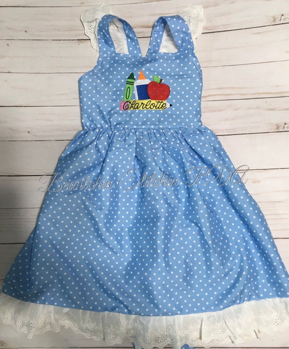 Personalized Girls Blue Polka Dot Dress, Girls Blue Dot Dress, Girls Blue Sundress, Girls Blue Flutter Sleeve Dress, Ships Free