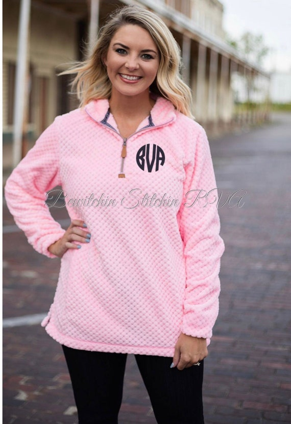 Personalized Ladies Pink Pineapple Quarter Zip Pullover, Ladies Fleece Quilted Pullover, Pink Quarter Zip Pullover, Monogrammed Pullover
