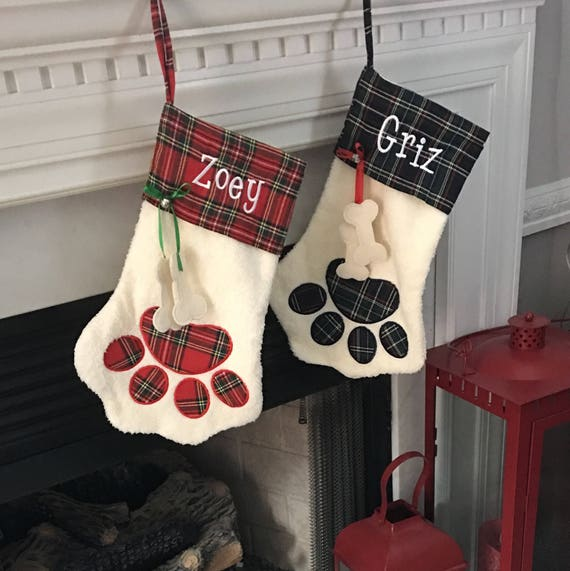 Personalized Dog Christmas Stockings, Sherpa Pet Stocking, Paw Stocking, Dog Stocking, Cat Stocking, Plaid Stocking, Embroidered