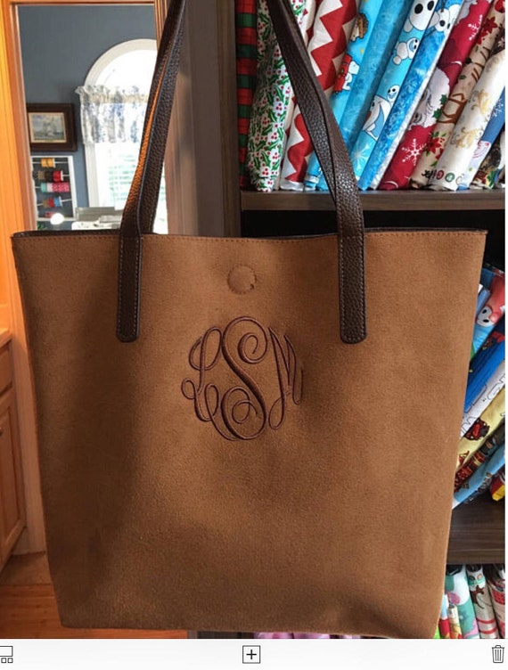Monogrammed Vegan Leather Tote Bag, Zippered Cosmetic Pouch, Detachable Cross-Body Shoulder Strap, Convertible Tote Bag Purse, Reversible