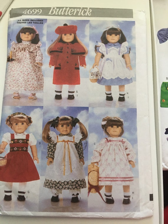 "Butterick 4699 Doll Clothes Dresses, Gown, and Coat Sewing Pattern, Fits 18"" Dolls, New, Uncut, FF"