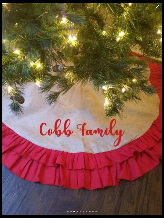 Personalized Farm House Christmas Tree Skirt, Christmas Tree Skirt, Plaid Christmas Tree Skirt, Burlap Tree Skirt, Matching Stocking