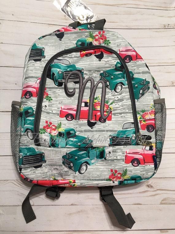 Monogrammed Farm Truck Backpack, Truck Backpack, Vintage Trucks Backpack, Backpack with Trucks, Farmhouse Backpack