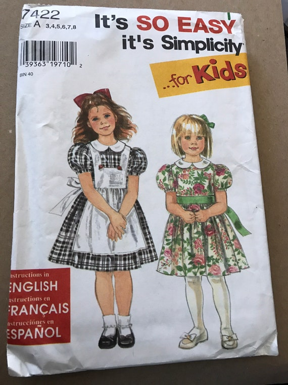 Simplicity 7422 Child's Dress and Pinafore Sewing Pattern, It's So Easy for Kids, New, Uncut, Factory Folded, Sizes 3 thru 8