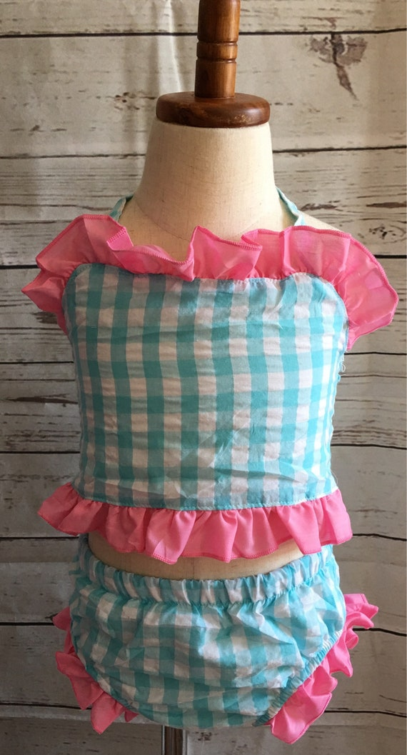 Personalized Ruffled Gingham Swimsuit, Tankini, Two Piece, Bikini, Embroidered, Navy and Red, Aqua and Pink