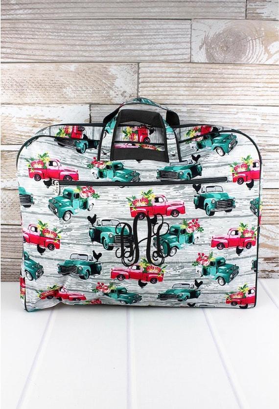 Personalized Farm Trucks Garment Bag, Weekend Garment Bag, Costume Bag, Travel Garment Bag, Farm Trucks, Sunflowers, Llamas