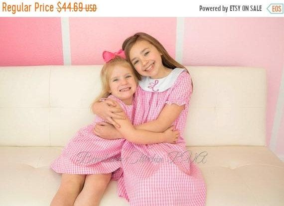 Personalized Girls Pink Gingham Bishop Dress, Gingham Bishop Dress, Baby Bishop Dress, Toddler Bishop Dress, Monogrammed Dress