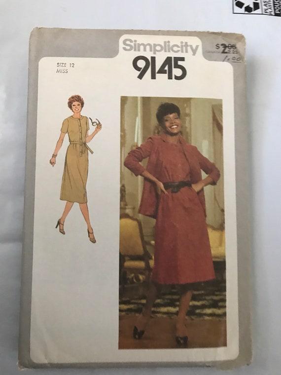 """Simplicity 9145, Vintage Misses Dress and Jacket Sewing Pattern, 1979 Dress Pattern, Seventies Dress Pattern, Size 12, Bust 34"""", Uncut"""