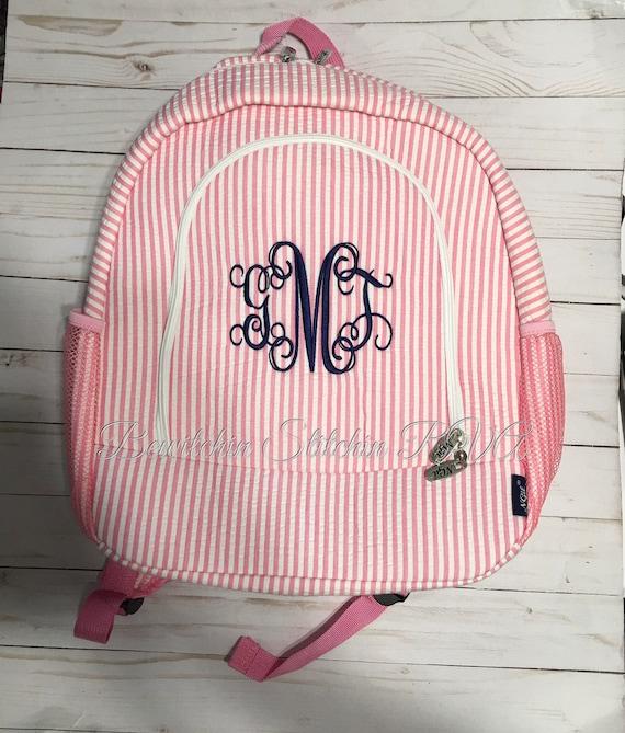 Monogrammed Pink Seersucker Backpack, Personalized Seersucker Backpack, Full Size Pink Backpack, Pink Book Bag, Pink School Bag