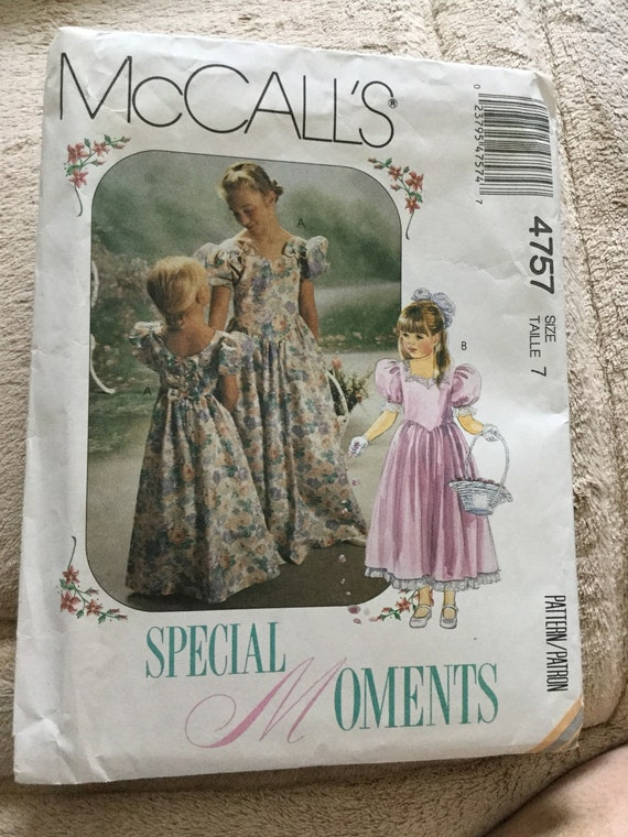 McCalls 4757, Girls Formal Gown or Dress, Flower Girl Dress, Size 6, Size 7, Uncut, SHIPS FREE