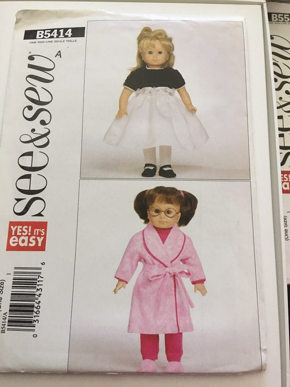"see & sew B5414, Doll Dress, Robe and Pajama Sewing Pattern, Fits 18"" Dolls, New, Uncut, FF"